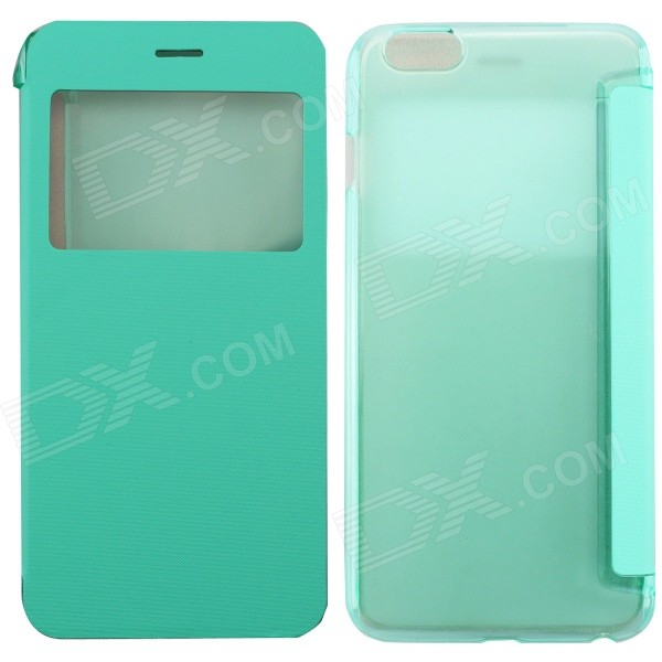 Ultrathin Flip Open PC + PU Case w/ Display Window for IPHONE 6 PLUS - Cyan