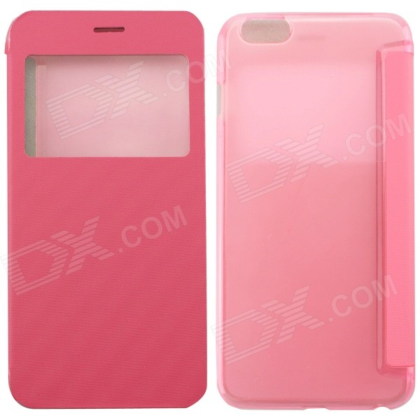 Ultrathin Flip Open PC + PU Case w/ Display Window for IPHONE 6 PLUS - Pink mo mat ultrathin flip open pc case w display window for iphone 6 plus 5 5 blue
