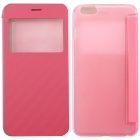 Ultrathin Flip Open PC + PU Case w/ Display Window for IPHONE 6 PLUS - Pink