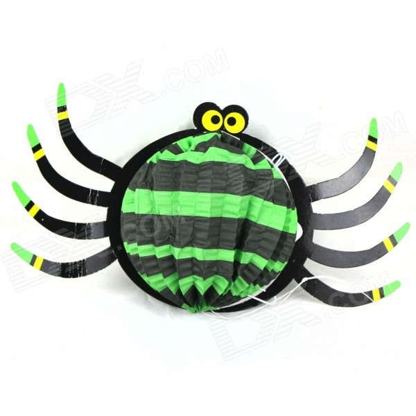 Cute Funny Squabby Paper Spider Hanging Ornament for Halloween - Black + Blue