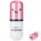 3000mAh Cute Capsule Shape External 3000mAh Power Bank for Mobile Devices - Pink + White