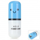 3000mAh Cute Capsule Shape 3000mAh External Power Bank for Mobile Devices - Blue + White