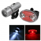 Bike Bicycle Handlebar 5-LED White Light Headlamp + 5-LED Rear Tail Warning Light Set - Grey + Red