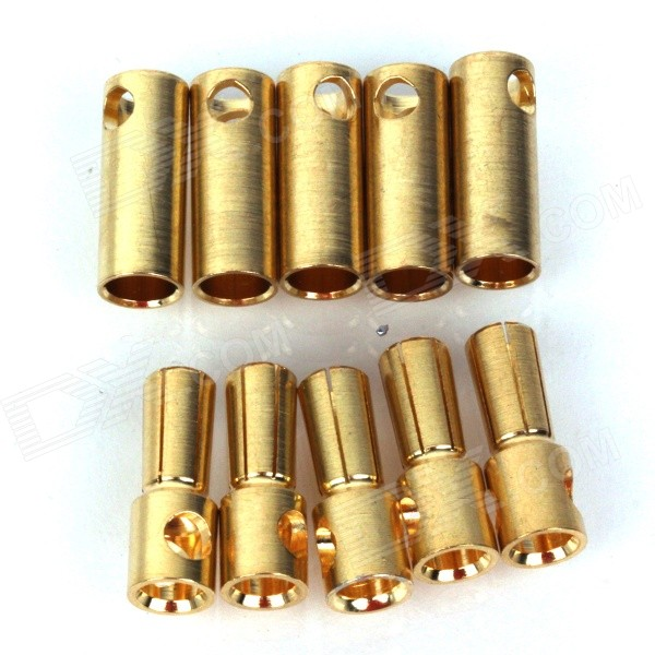 ZnDiy-BRY Gold Plated Banana Plug Jack Connector Set - Golden (5.5mm / 5 PCS)