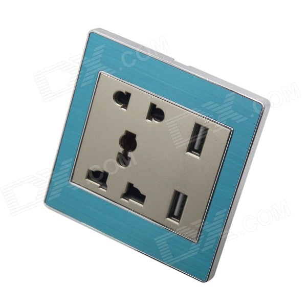 AC Power Socket + Dual-USB Socket Wall Panel - Blue + Champagne