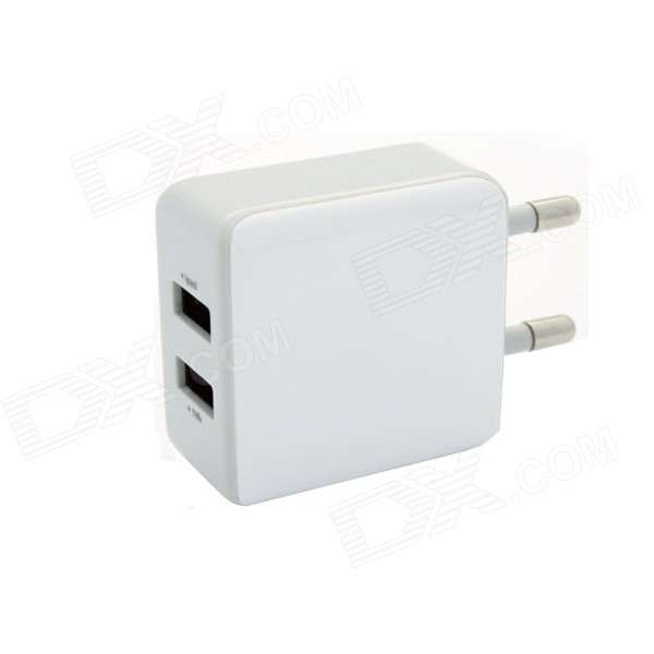 Fonemax EU Plug Dual USB Output AC Charger Power Adapter - White (100~240V) цена и фото