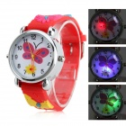 Childrens Butterfly Style Silicone Analog Quartz Wrist Watch with Flashing LED Light - Red