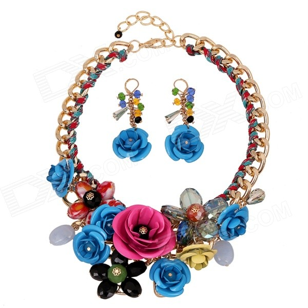 SAPREAL JT1017 Womens Gemstone Ornament Zinc Alloy Necklace + Earrings Set - Purple + Blue - DXNecklaces<br>Color Purple + Blue + Multi-Colored Brand SAPREAL Model JT1017 Quantity 1 Set Shade Of Color Multi-color Gender Women Suitable for Adults Chain Material Zinc alloy Pendant Material Zinc alloy + gemstone Chain Length 53 cm Chain Width 1.5 cm Packing List 1 x Necklace 1 x Pair of earrings<br>