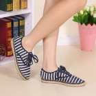 Women's Fashionable Striped Woven Hemp Rope Bottom Flat Heel Shoes - Blue + White (Pair / 36)