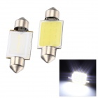 Merdia 36mm 2W 110lm 6000K White Light COB LED Car Reading / Roof Lamp - White + Yellow (12V / 2pcs)