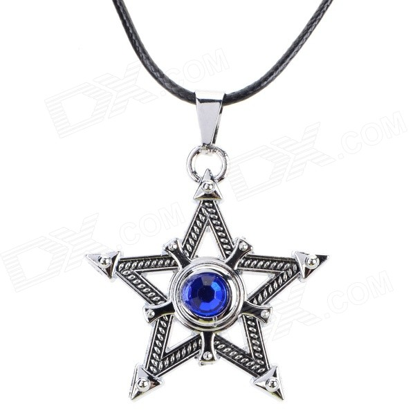 Stylish Five-Pointed Star Shaped Rhinestone-studded Zinc Alloy Pendant Necklace - Black + Silver square shaped stylish crystal zinc alloy stud earrings black bronze pair