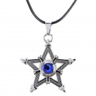 Stylish Five-Pointed Star Shaped Rhinestone-studded Zinc Alloy Pendant Necklace - Black + Silver
