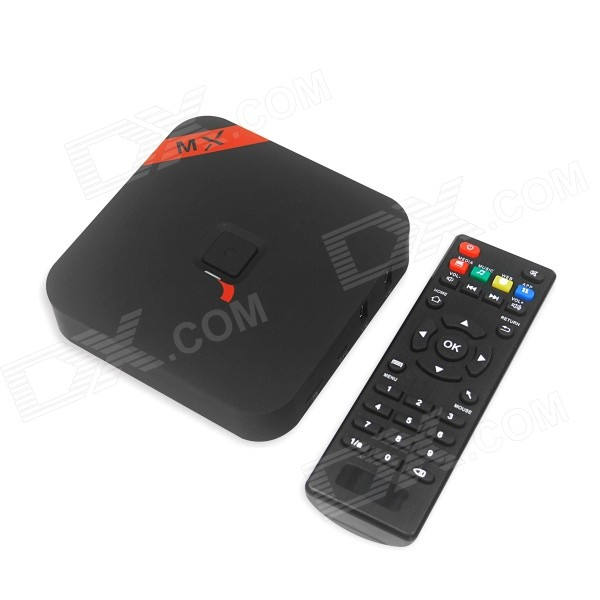 MXQ Quad-Core H.265 Android 4.4.2 Google TV Player w/ 1GB RAM, 8GB ROM, UK Plug, Bluetooth - Black