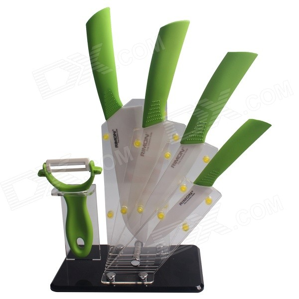 RIMON 4 / 5 / 6 / 7 Ceramic Knife + Peeler + Tool Post Set - Green bestlead 4 6 ceramics knife peeler set blue white