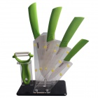 "RIMON 4"" / 5"" / 6"" / 7"" Ceramic Knife + Peeler + Tool Post Set - Green"