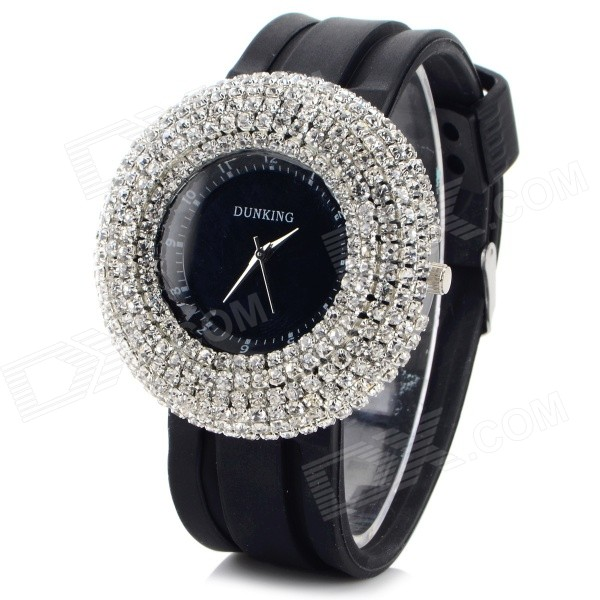 Women's Stylish Rhinestone-studded Dial Silicone Band Quartz Analog Wristwatch - Black (1 x 377)