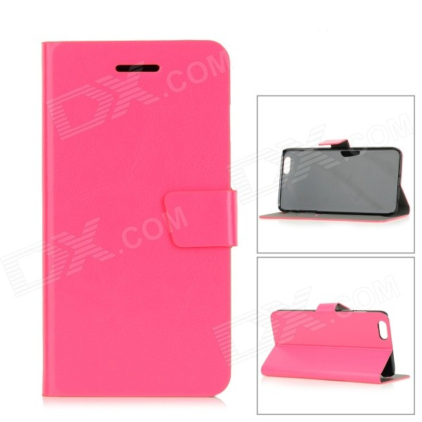Protective PU Flip-Open Case w/ Stand / Card Slot / Magnetic Buckle for IPHONE 6 PLUS - Deep Pink wallet style magnet buckle pu leather flip open case w stand card slot strap for iphone 6 4 7