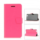 Protective PU Flip-Open Case w / Stand / Card Slot / Magnetic Buckle für iPhone 6 PLUS - Deep Pink