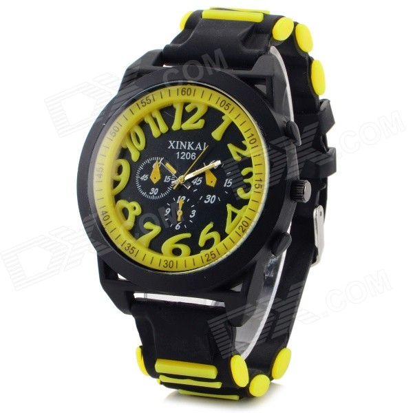 XINKAI 0014 Large Face Stylish Silicone Band Digital Quartz Wristwatch - Yellow + Black (1 x 377)