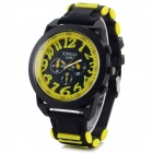 XINKAI Large Face Stylish Silicone Band Digital Quartz Wristwatch - Yellow + Black (1 x 377)