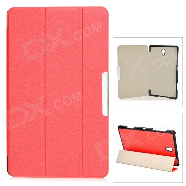все цены на Silk Pattern Protective PU + PC Case w/ Stand for Samsung Galaxy Tab S 8.4 / T700 - Red