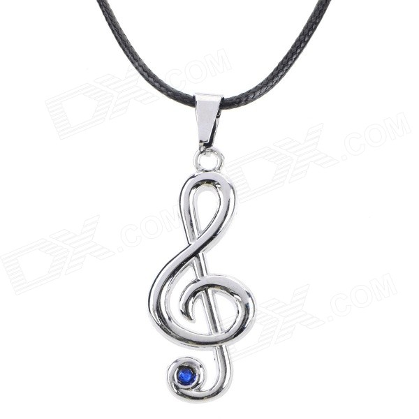 Fashion Musical Note Style Rhinestone Inlaid Pendant Necklace - Silver