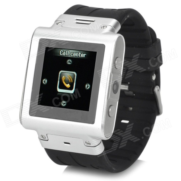 цена на W838 Sport 1.5 Resistive Screen GSM Wrist Watch Phone w/ 2GB ROM, Bluetooth, TF - Silver + Black