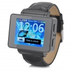 "i6s 1.8"" TFT GSM 4-Band Bluetooth PU Band Watch Phone w/ Wi-Fi, FM, TF - Black"