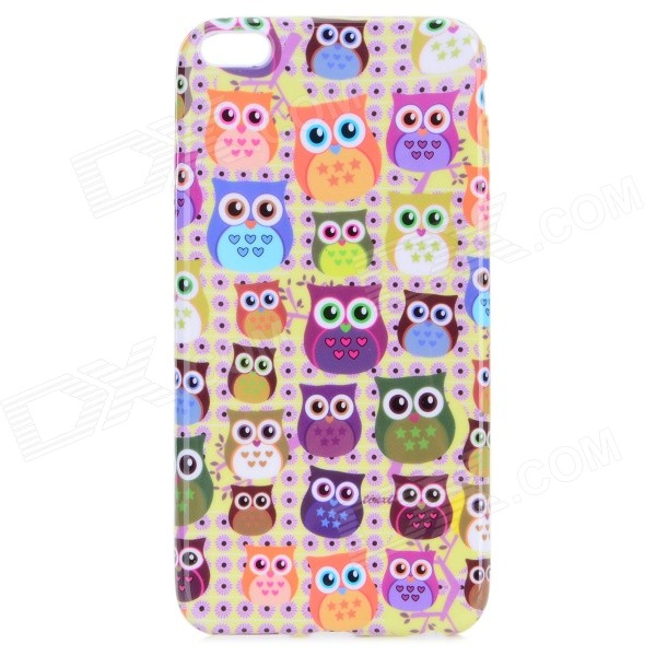 Cute Owl Pattern TPU Back Case for IPHONE 6 PLUS 5.5 - Yellow + Orange + Multi-Color usams perfume style tpu back case for iphone 6 4 7 brown multi color