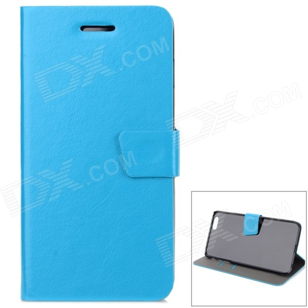 Protective PU Flip-Open Case w/ Stand / Card Slot / Magnetic Buckle for IPHONE 6 PLUS 5.5 - Blue protective pu leather flip open case w stand for iphone 6 plus black