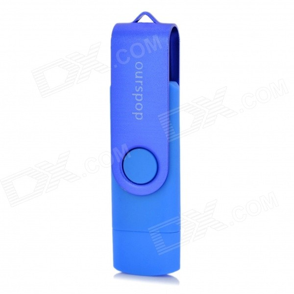 Ourspop SJ-20 Rotary USB 2.0 Flash Disk w/ Micro USB - Blue (64GB)