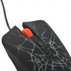 USB Wired 1000~1600DPI Gaming Mouse w/ Colorful Backlight - Black + Red
