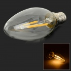 E14 2W 180lm 3000K Warm White Light 2-LED Filament Bulb - Transparent (AC 220V)