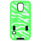 Zebra Pattern Protective PU Back Case for Samsung S5 i9600 - Green