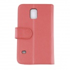 Stylish Flip Open PC + PU Case w/ Stand / Card Slots for Samsung Galaxy S5 - Red