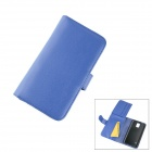 Stylish Flip Open PC + PU Case w/ Stand / Card Slots for Samsung Galaxy S5 - Blue