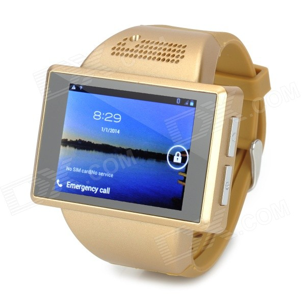 AN1 2.0 Capacitive Touch Screen Android 4.1 Watch Phone w/ 512MB RAM, 256MB ROM, TF - GoldenSmart Watches<br>Form ColorGoldenBrandOthers,N/AModelAN1MaterialPlasticQuantity1 DX.PCM.Model.AttributeModel.UnitShade Of ColorGoldNetworkingGSMFrequencyGSM 850 / 900 / 1800 / 1900MHzData TransferGPRS,EDGESIM TypeOrdinary SIMSIM Slot1Network StandbySingle StandbyNetwork ConversationOne-Party Conversation OnlyGPSYesWi-FiIEEE 802.11 b / n / gTypeBrand NewOperating SystemAndroid 4.1CPU ProcessorMTK6515 (Tested MTK6575 is virtual), 1.0GHzCPU Core QuantitySingle CoreLanguageIndonesian, Malay, Czech, German, English, Spanish, French, Italian, Dutch, Portuguese, Vietnamese, Turkish, Greek, Russian, Arabic, Thai, Korean, Traditional Chinese, Simplified ChineseGraphics ProcessorPower VR SGX 531RAM512MBROM256MBAvailable Memory150MBMemory CardSupports TF card up to 32GB (not included)Screen Size2 DX.PCM.Model.AttributeModel.UnitTouch Screen TypeCapacitive ScreenScreen Resolution240 x 320Main Camera Lens Features2.0 MPSecondary Camera LensNoFlashNoTouch FocusNoBattery Capacity900 DX.PCM.Model.AttributeModel.UnitBattery TypeLi-ion batteryTalk Time60 DX.PCM.Model.AttributeModel.UnitStandby Time40 DX.PCM.Model.AttributeModel.UnitWorking Time10 DX.PCM.Model.AttributeModel.UnitBluetooth VersionBluetooth V2.0TVNoRadio TunerYesWaterproof LevelOthersSensorG-sensorI/O InterfaceMicro USB,SIM Slot,Others,TF card slotFormat SupportedMP3 / MP4 / AVI / PNG / GIF / JPEGSoftwareBrowser, Calculator, Calendar, Camera, Clock, Email, File manager, Radio.etcWristband MaterialPlasticWristband Length22.1 DX.PCM.Model.AttributeModel.UnitPacking List1 x Watch Phone1 x Battery (900mAh / Actual 700mAh)1 x Data cable (100cm)1 x Pair of earphones (115cm-cable)1 x Power adapter (EU plug / 100~240V)1 x English user manual<br>