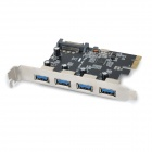 ULANSON PCIE 4-Port USB 3.0 + SATA 15-Pin Expansion Power Board Module - Black