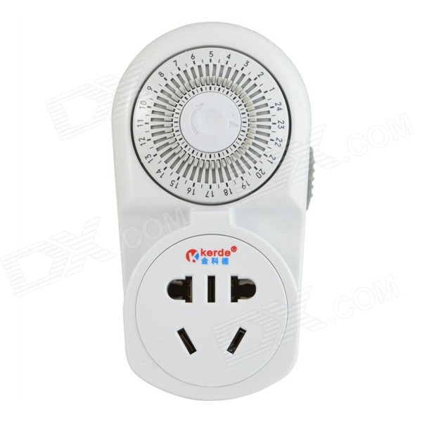 Фото US Plug 10A 2200W 220V Mechanical Switch Timer w/ Socket - White dia 400mm 900w 220v w 3m psa