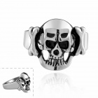Skull Head Style Fashion Titanium Steel Ring - Black + Silver (Size 7)