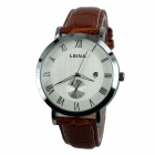 Men's Business Style Silver Case Analog Quartz Wrist Watch w/ Calendar - Brown + Silver