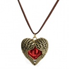 Retro Rose Heart Pendant Necklace - Red + Antique Bronze