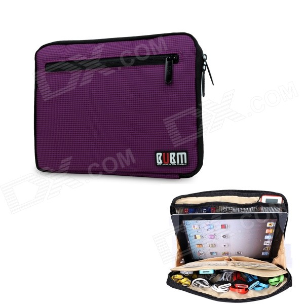 BUBM Multi-functional Large Capacity Digital Storage Bag Pouch for IPAD MINI / Accessories - Purple bubm bj7 reel type large capacity multi purpose digital pouch storage bag coffee