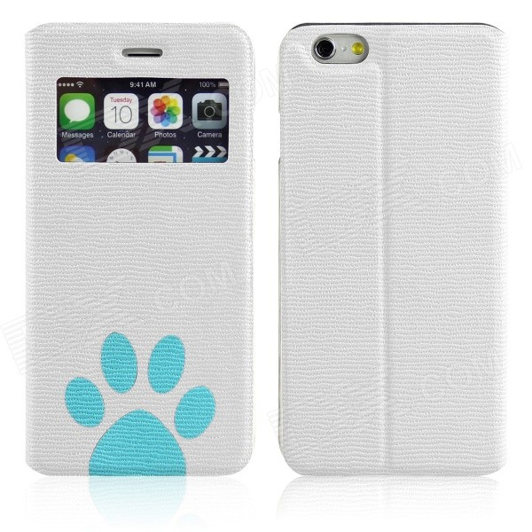 ENKAY Footprint Patterned PU Leather Full Body Case w/ Stand / Window for IPHONE 6 - White enkay footprint pattern protective pu leather case w stand for iphone 6 4 7 green