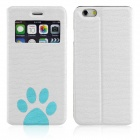 ENKAY Footprint Patterned PU Leather Full Body Case w/ Stand / Window for IPHONE 6 - White