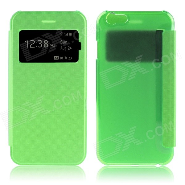Hat-Prince Protective PU + PC Case w/ Call Display Window for IPHONE 6 PLUS - Green