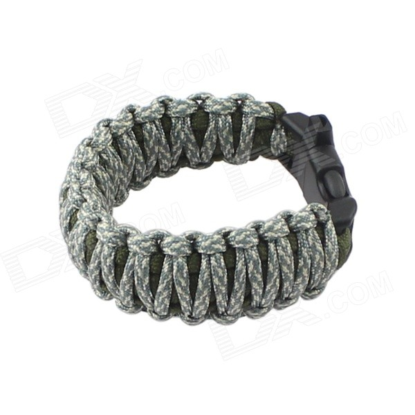 Outdoor Survival Emergency Bracelet Style Nylon Parachute Cord Rope w/ Whistle - Army Green + Gray bracelet style outdoor survival emergency rope army green brown
