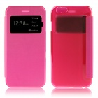 Hat-Prince Protective PU + PC Case w/ Call Display Window for IPHONE 6 PLUS - Deep Pink