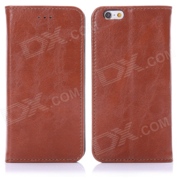 ENKAY Protective PU Leather Case w/ Stand for IPHONE 6 4.7 - Brown