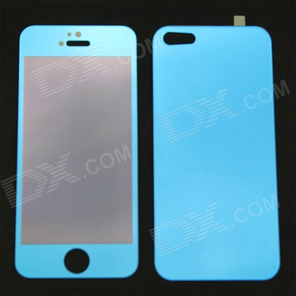 MO.MAT Mirror Tempered Glass Front + Back Protectors for IPHONE 5 / 5S / 5C - Blue front and back tempered glass protectors set for iphone 5 5s camouflage green